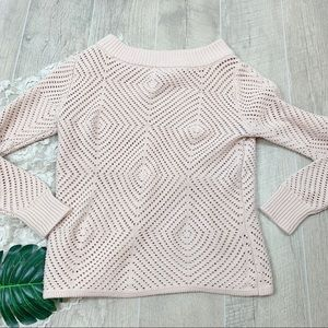 NY&C Beige Open Knit Boat Neck Sweater Med 1887